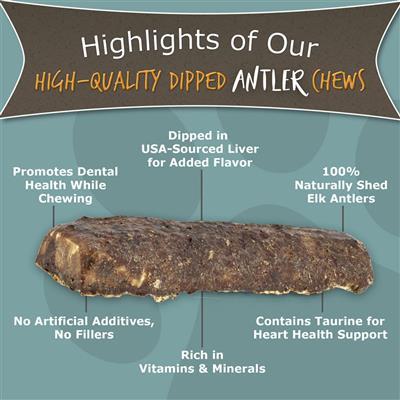 Medium Split, 6″ Dipped Antler Dog Chew