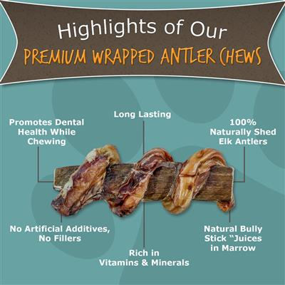 X-Large Split, 8″ Wrapped Antler Dog Chew