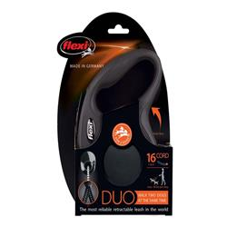 Flexi Classic Duo Cord Dog Leash Black 18lb 16ft