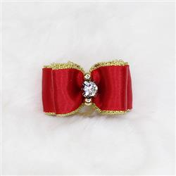 Crystal Dog Hair Bow: Red