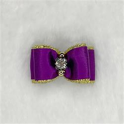 Crystal Dog Hair Bow: Purple