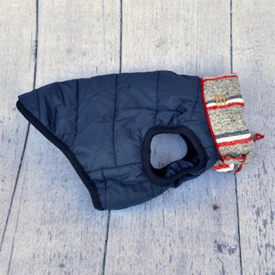 Navy Heather Grey Stripe Puffer Jacket