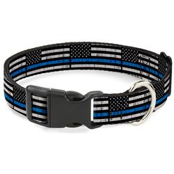 Plastic Clip Collar - Thin Blue Line Flag Weathered Black/Gray/Blue