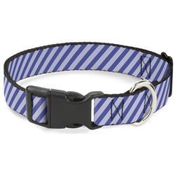 Plastic Clip Collar - Diagonal Stripes Pastel Blues
