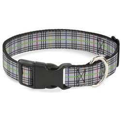 Plastic Clip Collar - Plaid Gray/Multi Neon
