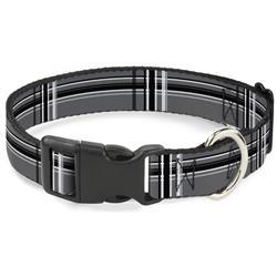 Plastic Clip Collar - Plaid Gray/Black/White