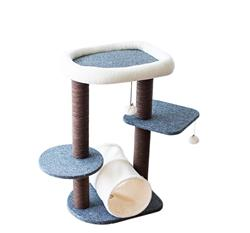 Catry, Cat Tree Cat Tower for Activity with Tunnel and Toy Ball, Gray