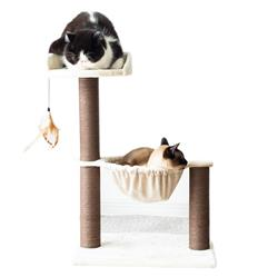 Catry, Cat Tree Hammock Bed with Natural Sisal Scratching Posts and Teasing Feather for Kitten, Beige