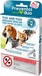 Preventol Natural Duo Tick & Flea Spot-On Repellant for Dogs and Cats