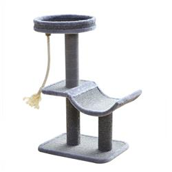 Catry, Cat Tree Cradle Bed with Natural Sisal Scratching Posts and Teasing Rope for Kitten, Gray