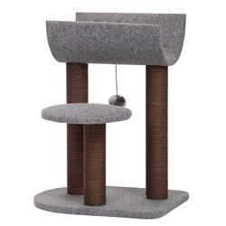 Catry, Cat Tree Cat Tower for Cat Activity with Scratching Post Paper Rope Toy Ball, Felt, Gray (Perch)