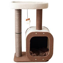 Catry, Cat Tree Condo with Paper Rope Covered Scratching Post Activity Center for Climbing Relaxing and Playing Natural Jute Fiber Pet Stand