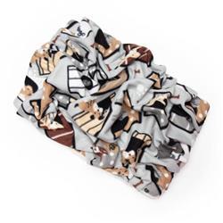 Dog House on Grey Printed Fleece Fabric Blanket Pet Bed