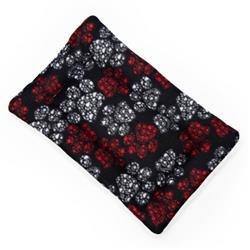 Red and White Paws Printed Fleece Fabric Flat Pet Bed