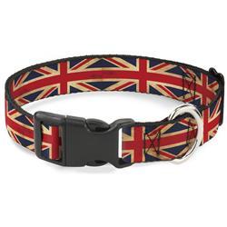 Plastic Clip Collar - United Kingdom Flag Continuous Vintage