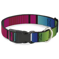 Plastic Clip Collar - Zarape7 Vertical Pinks/Blues/Greens/Black