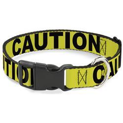 Plastic Clip Collar - CAUTION Yellow/Black