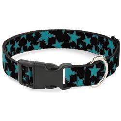 Plastic Clip Collar - Multi Stars Black/Turquoise