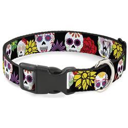 Plastic Clip Collar - Sugar Skulls & Flowers Black/Multi Color