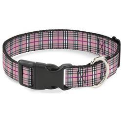 Plastic Clip Collar - Plaid Pink