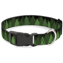 Plastic Clip Collar - Pine Tree Silhouettes Black/Greens
