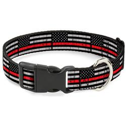 Plastic Clip Collar - Thin Red Line Flag Weathered Black/Gray/Red