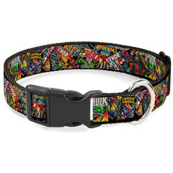 Plastic Clip Collar - Retro Marvel Comic Books Stacked CLOSE-UP