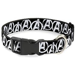"Plastic Clip Collar - Avengers ""A"" Logo Weathered Black/White"