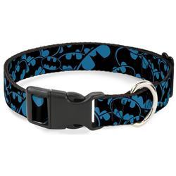 Plastic Clip Collar - Bat Signals Stacked Blue/Black
