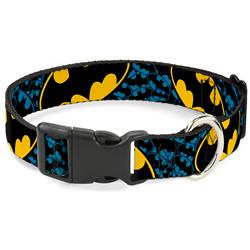 Plastic Clip Collar - Bat Signals Stacked w/CLOSE-UP Blue/Black/Yellow