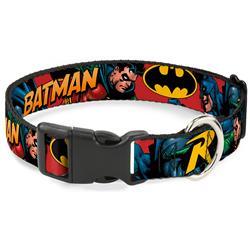 Plastic Clip Collar - Batman & Robin in Action w/Text Burgundy