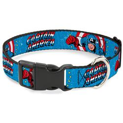 Plastic Clip Collar - CAPTAIN AMERICA w/Action Pose Weathered Blue