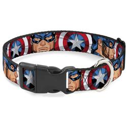 Plastic Clip Collar - Captain America Face Turns/Shield CLOSE-UP
