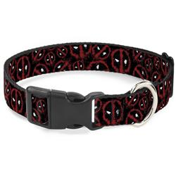 Plastic Clip Collar - Deadpool Splatter Logo Scattered Black/Red/White