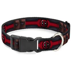 Plastic Clip Collar - Deadpool Utility Belt Logo/Pockets Black/Reds/Browns