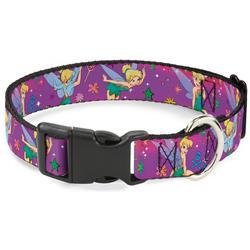 Plastic Clip Collar - Tinker Bell Poses/Flowers/Stars/Skull Purple