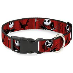Plastic Clip Collar - Nightmare Before Christmas Jack Poses/Bats Red Stripe