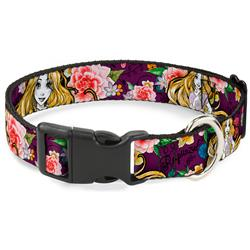 Plastic Clip Collar - Rapunzel Poses/Floral Collage Sketch Purple