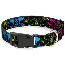 Plastic Clip Collar - Mickey Expressions/Paint Splatter Black/Multi Neon