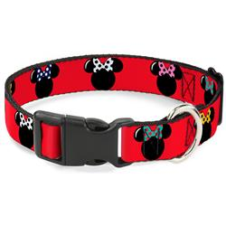 Plastic Clip Collar - Minnie Mouse Silhouette Red/Black/Polka Dot