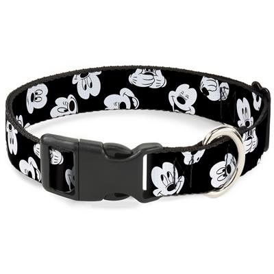 Plastic Clip Collar - Mickey Mouse Expressions Scattered Black/White