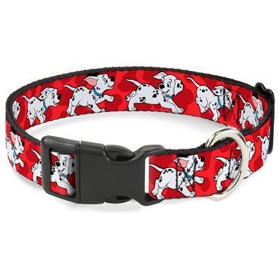 Plastic Clip Collar - Dalmatians Running/Paws Reds/White/Black