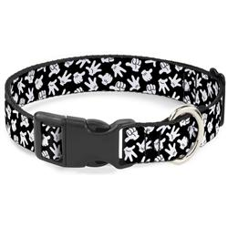 Plastic Clip Collar - Mickey Mouse Hand Gestures2 Scattered Black/White