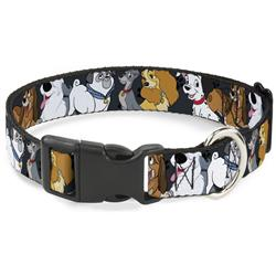 Plastic Clip Collar - Disney Dogs 6-Dog Group Collage/Paws Gray/Black