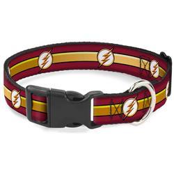 Plastic Clip Collar - The Flash Logo11/Stripe Burgundy/Black/Gold/White