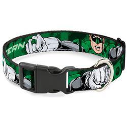 Plastic Clip Collar - Green Lantern Green Glow w/Text