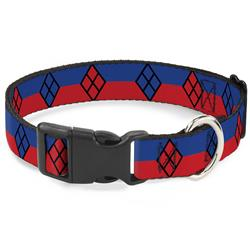 Plastic Clip Collar - Harley Quinn Diamond/Stripe Red/Blue