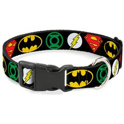 Plastic Clip Collar - Justice League Superhero Logos