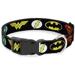 Plastic Clip Collar - Justice League 6-Superhero Logos Black