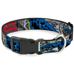 Plastic Clip Collar - BLACK PANTHER Action Poses/Stacked Comics Grays/Yellow/Blue/Red